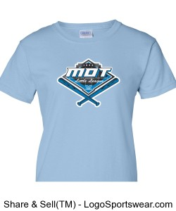 MOT Little League Full Color Logo Ladies T-Shirt - Light Blue Design Zoom